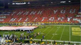 Lambeau Field National Anthem -Card Stunt -Veteran tribute 11-14-11 Packers vs. Vikings