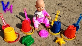 Kids Play with Baby Born Doll & Sand Molds