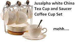Review Jusalpha white China Tea Cup and Saucer Coffee Cup Set
