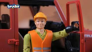 Vidéo  jouets bruder 03651 camion mercedes arocs avec benne et grue de chargement