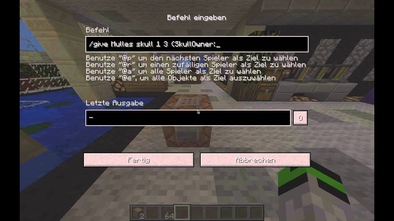 wie bekomme ich ein kopf in minecraft youtube. Black Bedroom Furniture Sets. Home Design Ideas