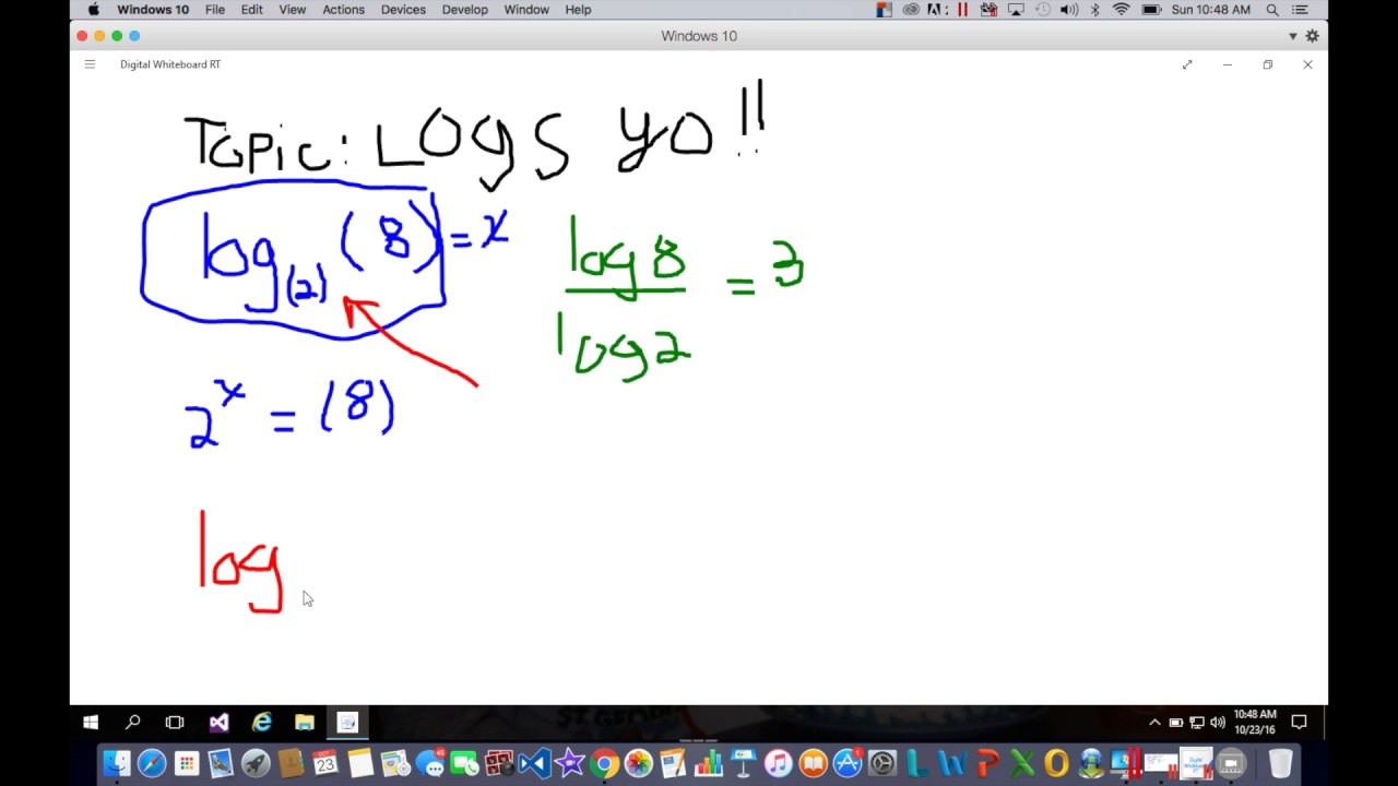 How to rewrite logs in exponential form. - YouTube