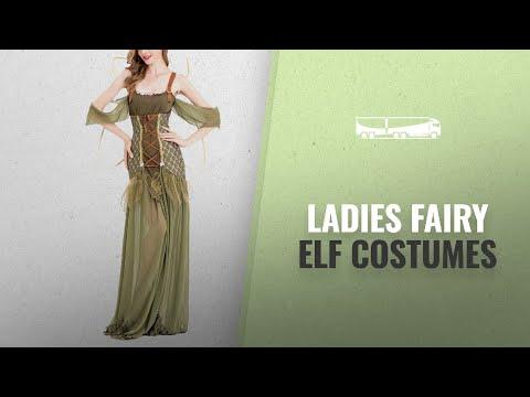 Halloween Ladies Fairy Elf Costumes [2018]: Asskyus Women Halloween Dress Green elf Party Dress