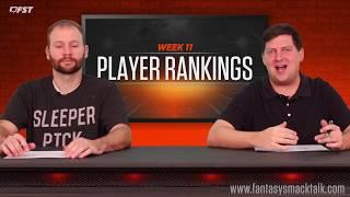 2018 Fantasy Football Week 11 Positional Rankings