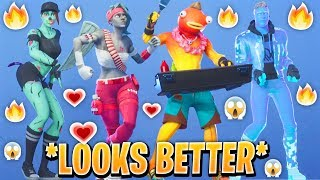 TOP 100 FORTNITE SKINS THAT LOOK BETTER WITH THESE DANCE EMOTES.! (Custom & Leaked Skins)
