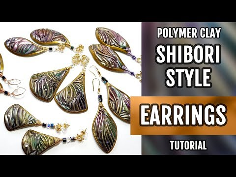 DIY How to make Shibori Style Earrings from polymer clay in one oven baking!