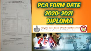 HSBTE PCA FORM 2020-2021 EXAM  INFORMATION   DIPLOMA HARYANA STATE BOARD TECHNICAL EDUCATION
