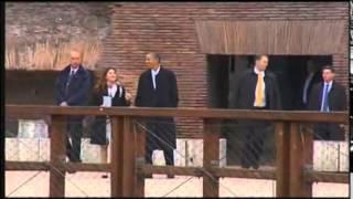 Obama watches sun set at Rome