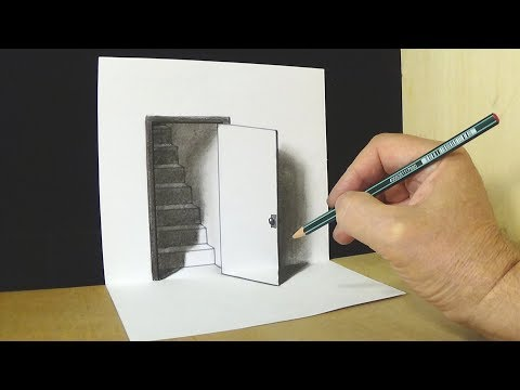 Trick Art Drawing - The Door Illusion - Magic Perspective with Pencil