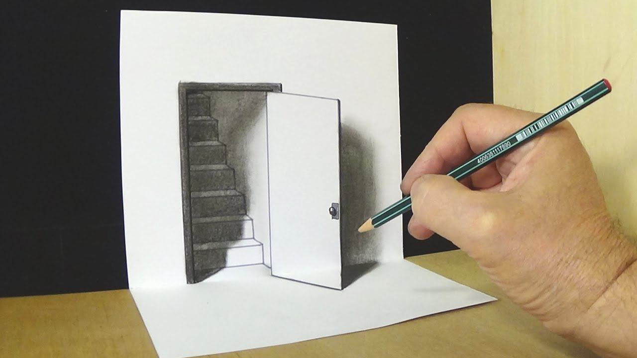 Door pencil drawing - Trick Art Drawing The Door Illusion Magic Perspective With Pencil