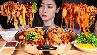 ASMR Half and Half Hot Pot! Spicy Hot Pot & Dry Pot! Malatang and Malaxiangguo Mukbang Eating Show #마라탕궈 #마라계의 #짬짜면 마라탕 ...