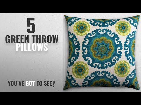 Top 10 Green Throw Pillows [2018]: Decorative Square 18 x 18 Inch Throw Pillow (Indoor/Outdoor) -