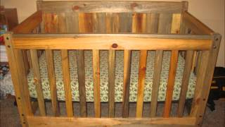 Blue Stain Pine Crib And Bed