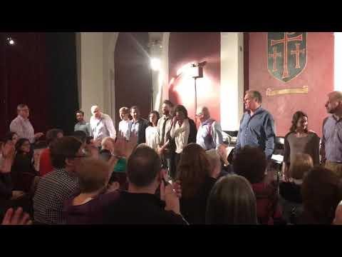 Len Cariou, Jay O. Sanders, Eric Sheffer Stevens & Sea Dog Theater cast bow after Inherit the Wind