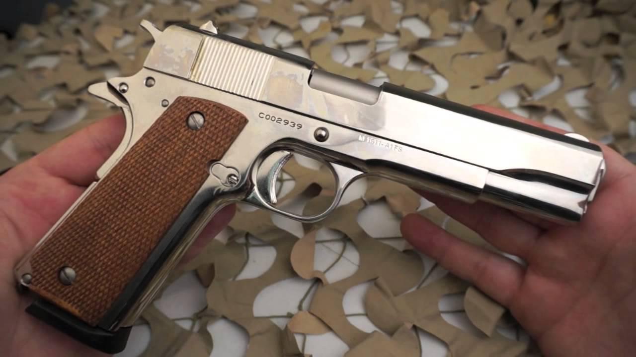 Cimarron 1911 Nickel 45ACP Military Replica Pistol Overview - Texas Gun Blog