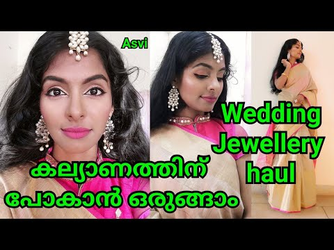 Easy Wedding guest makeup look|Saree, jewellery haul in malayalam|Sugar one brand makeup look|Asvi thumbnail