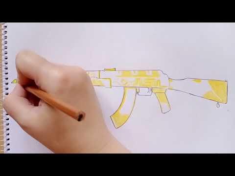 "Как нарисовать автомат Калашникова AKR ""Treasure Hunter"" из Standoff 2 ||how To Draw A Kalashnikov"