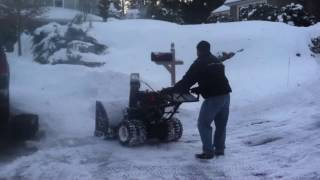 "45"" snowblower snow blowing some snow"