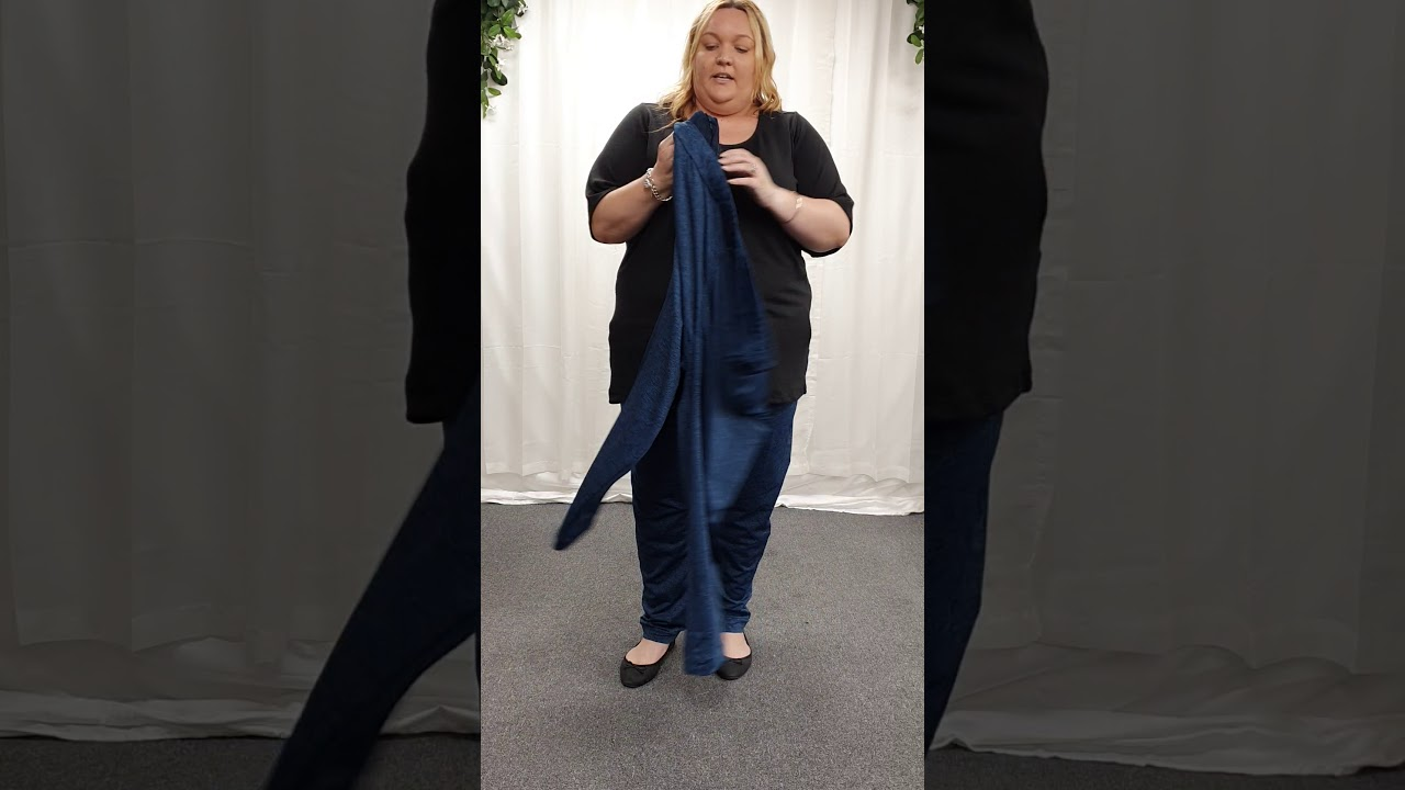 Plus Size Blue Marled Loose Leg Casual Pant