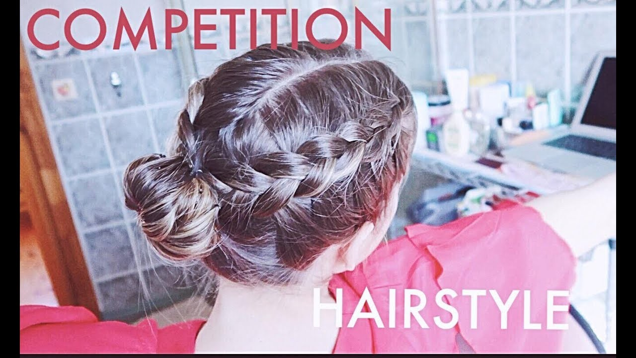 grwm competition hairstyle for figure skaters/dancers | french braids with bun