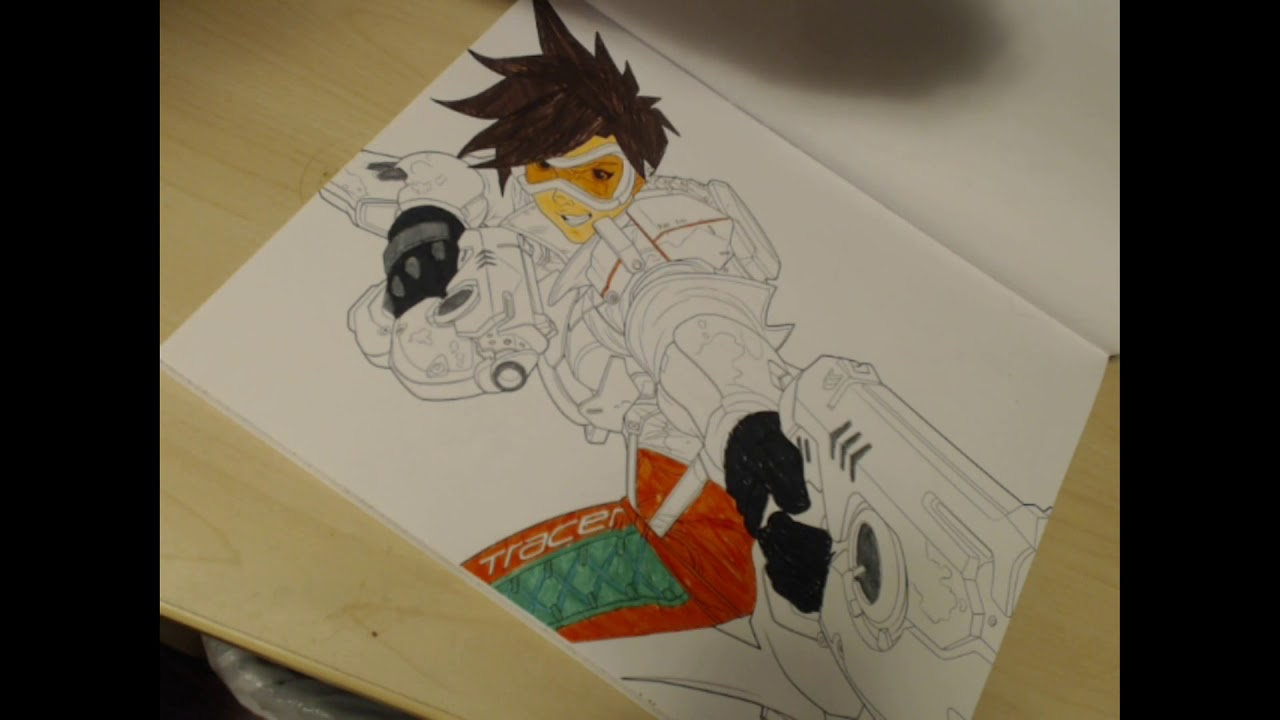 Tracer From The Overwatch Coloring Book Youtube