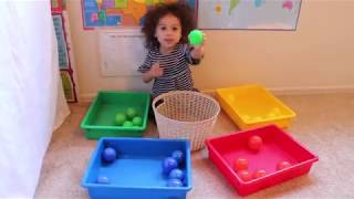 Learning Colors with play balls! teaching a 2 year old.