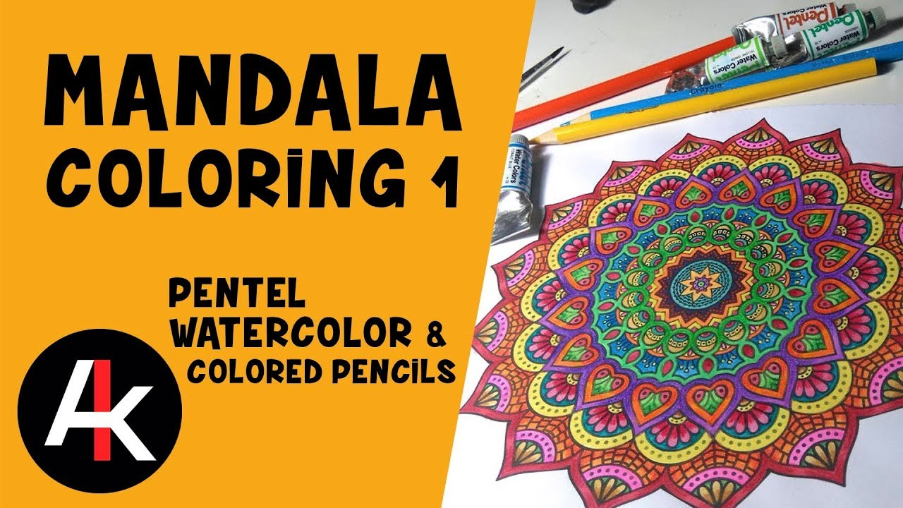 Mandala Coloring - Watercolors and Colored Pencils - YouTube