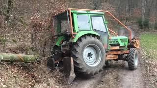Holz Vorliefern mit Deutz Forsttraktor