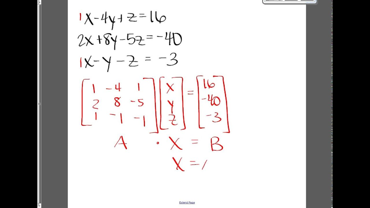 matrix and equations Using matrices to solve systems of equations: 1 (using the inverse coefficient  matrix) write this system as a matrix equation and solve: 3x + 5y = 7 and 6x - y = - .