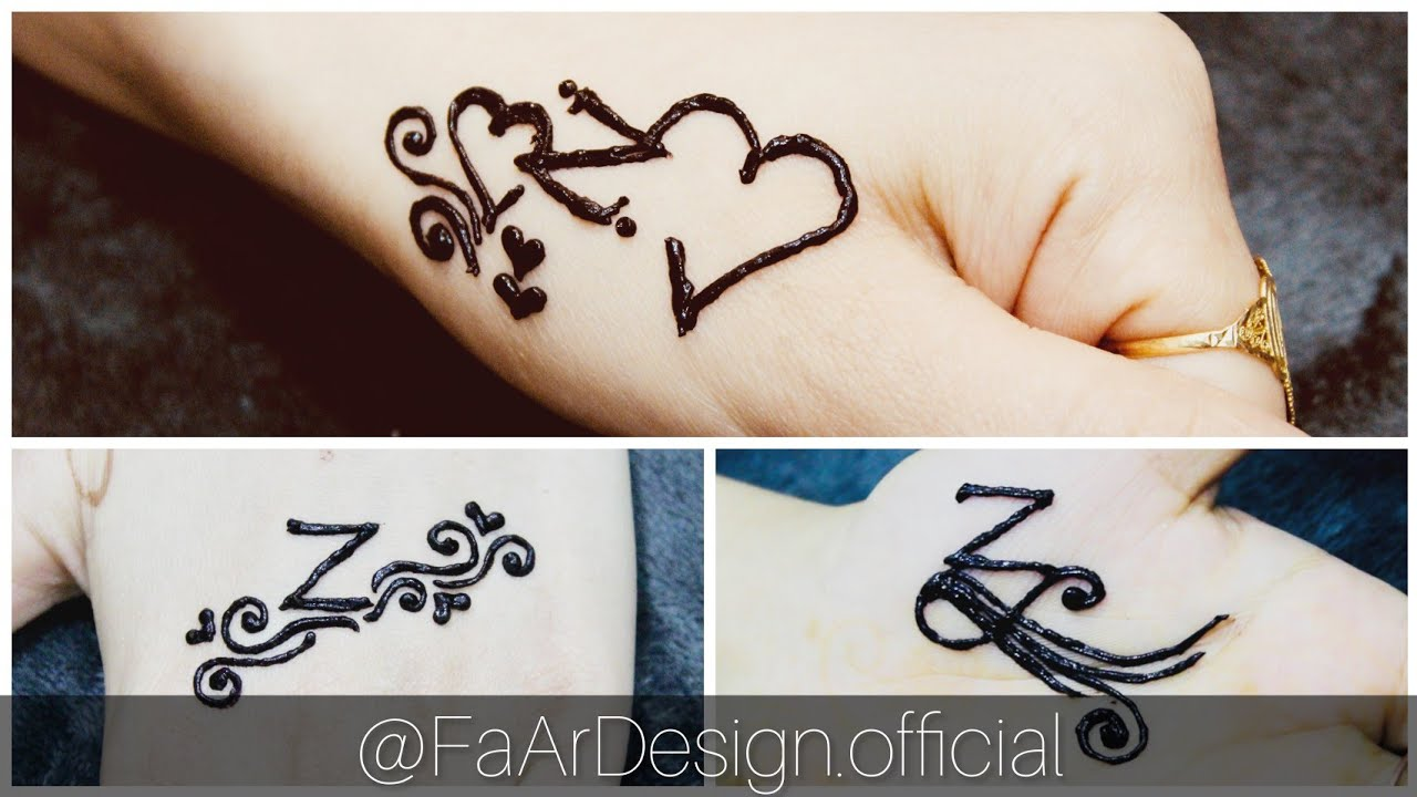 BEAUTIFUL \u201cZ\u201d LETTER MEHNDI TATTOO