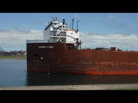 Great lakes Freighter Stewart J Cort in the Soo Lock Canal