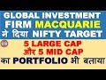 Investment firm Macquarie gave Nifty target | suggested large cap and mid cap portfolio for profit