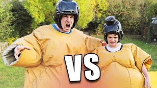 BROTHERS PLAY SUMO WRESTLING