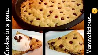 Perfect Chocolate Chip Cookie recipe in a pan - Cookie Dough made in a pan