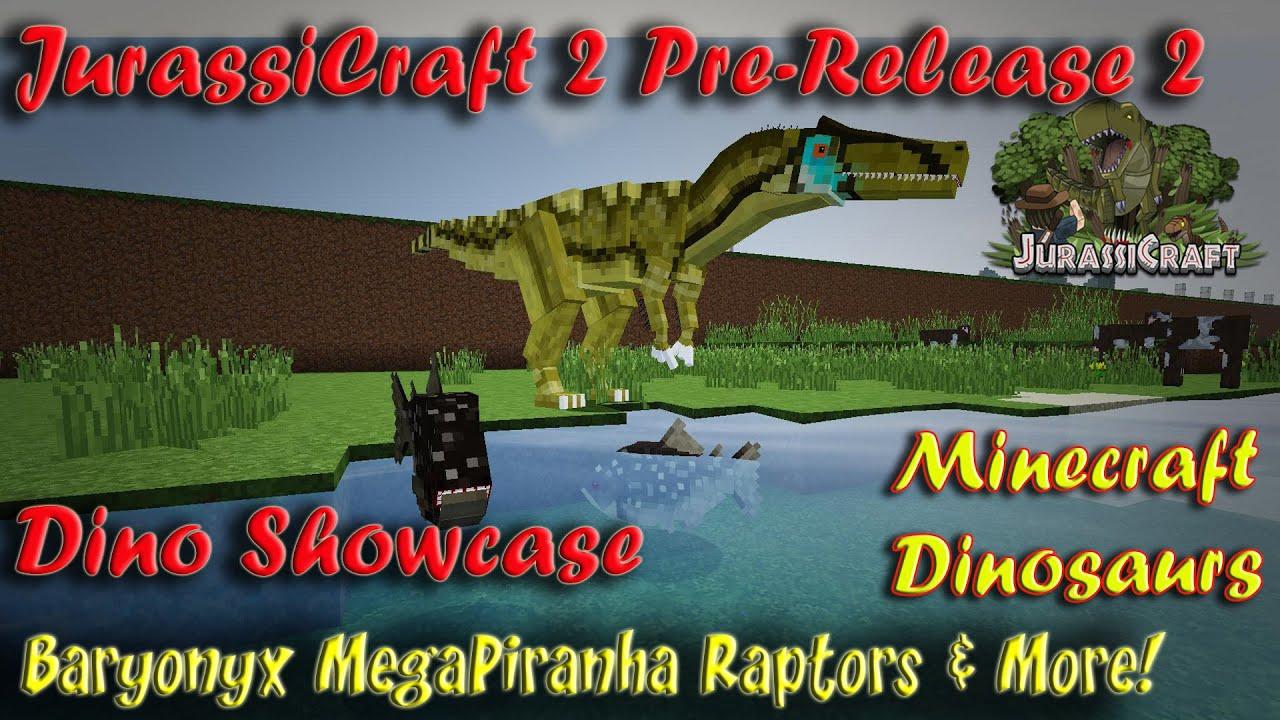 JurassiCraft 2 0 Jurassicraft Showcase Pre Release 2 Baryonyx MegaPiranha  Raptor Animations