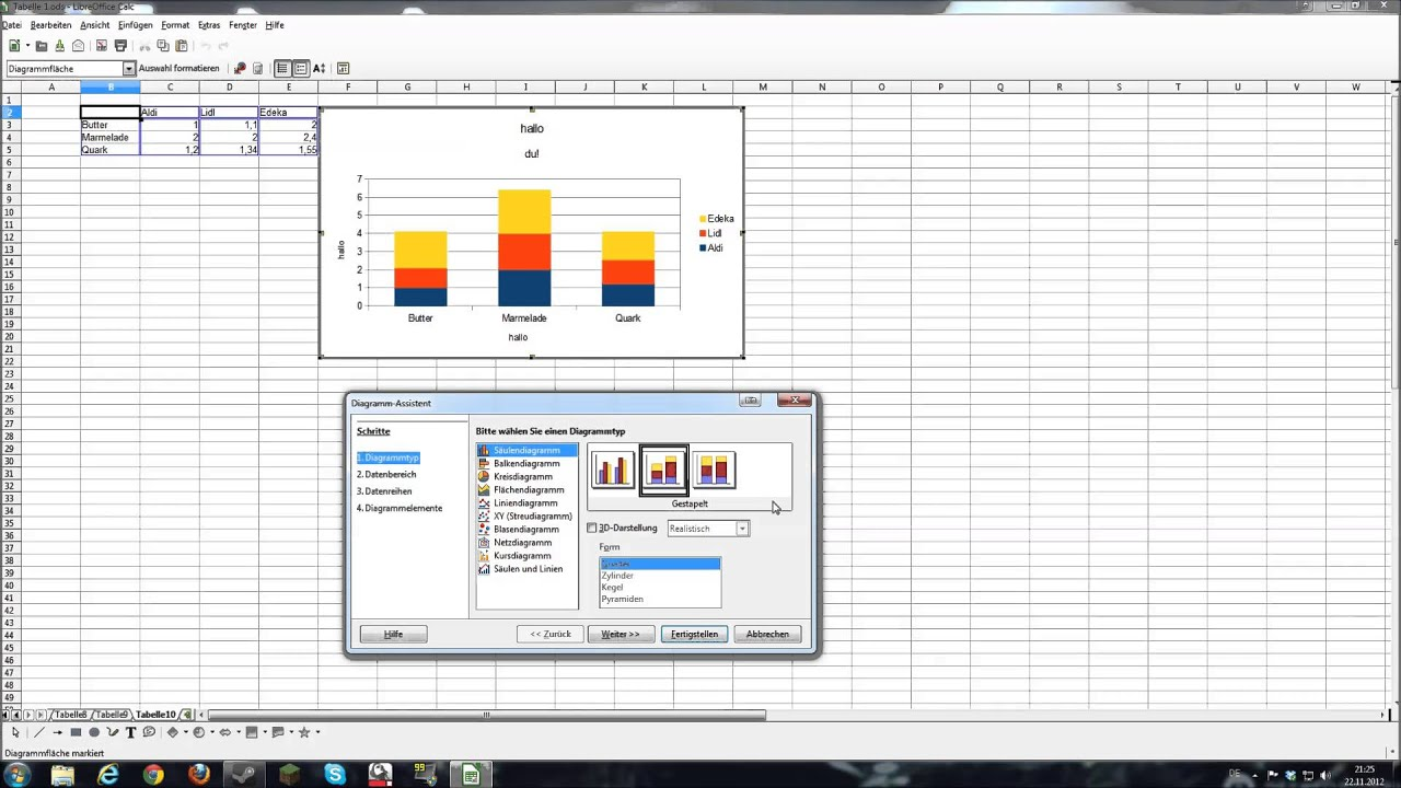 Diagramme mit Libre Office Calc erstellen, Toutorial - YouTube