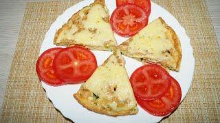 Лепешка с колбасой и сыром на завтрак. Быстрый завтрак