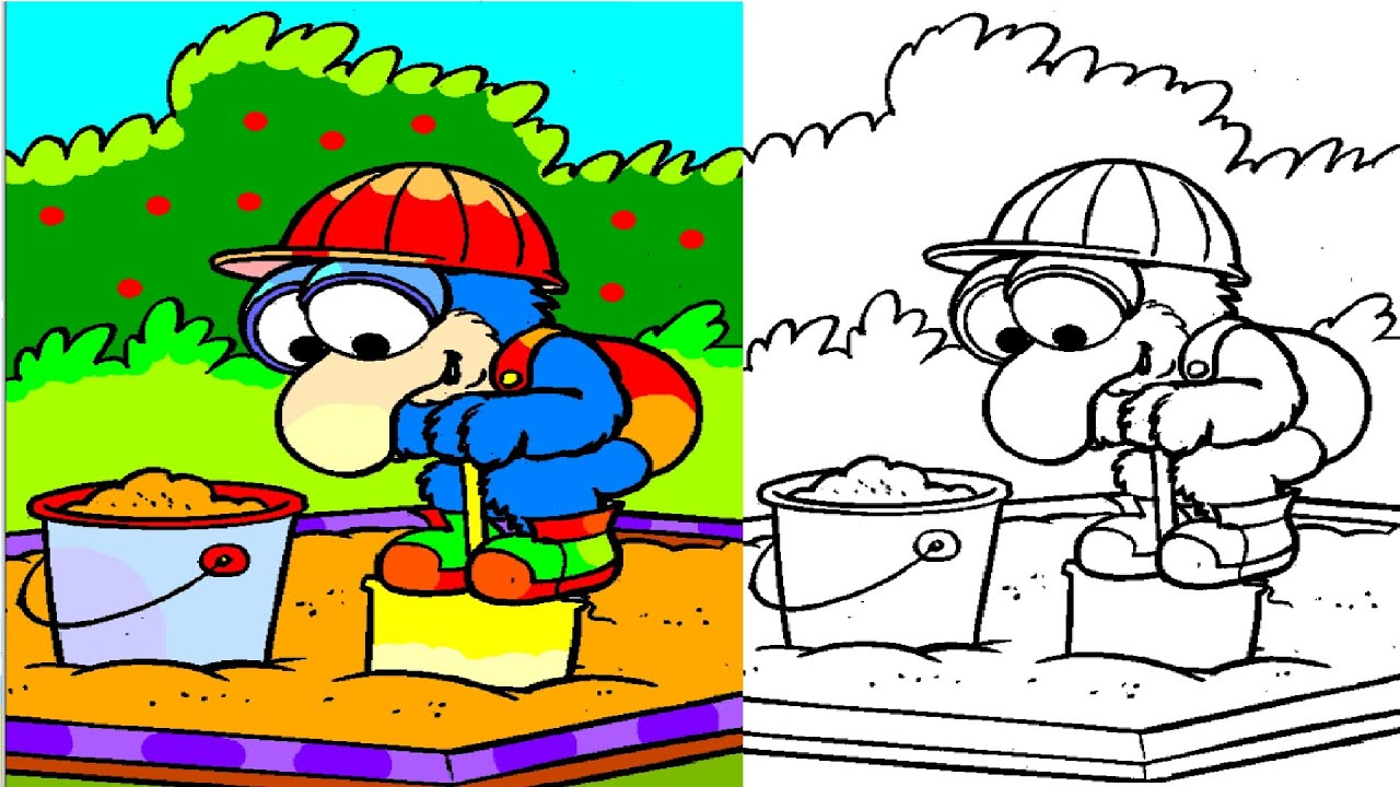 Baby Gonzo Playing In A Sandbox Coloring Pages