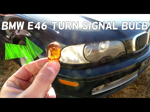 BMW E46 FRONT TURN SIGNAL LIGHT BULB REMOVAL REPLACEMENT 1998 1999 2000 2001 2002