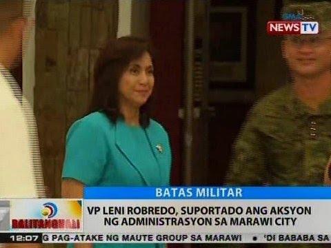 BT: VP Leni Robredo, suportado ang aksyon ng administrasyon sa Marawi City