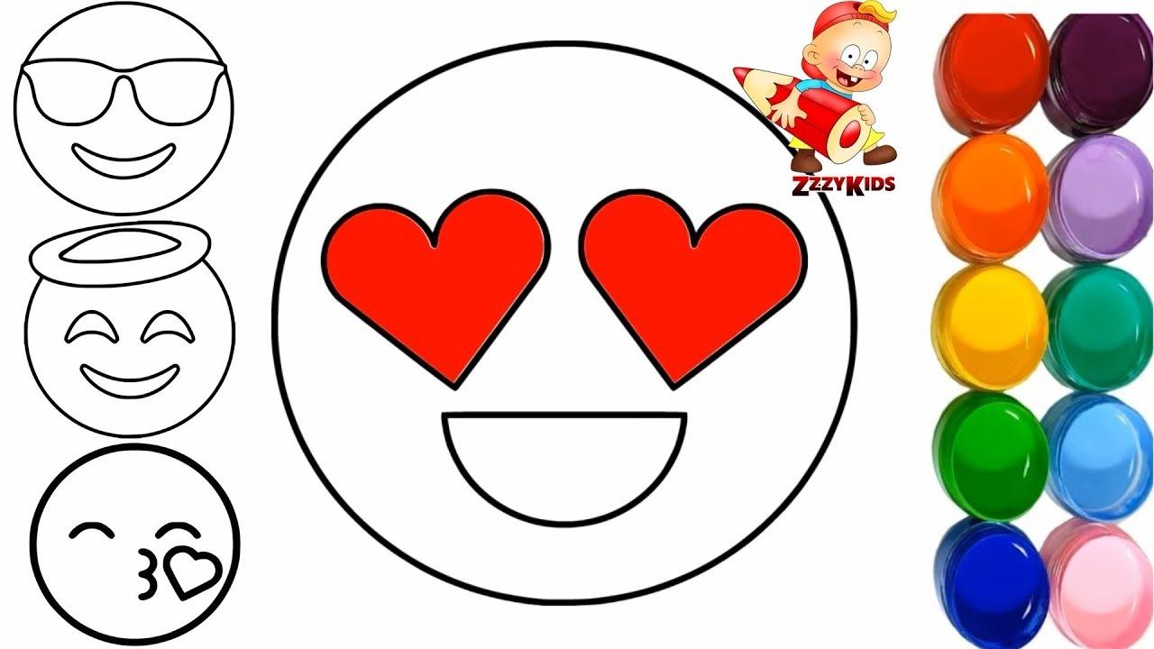 Kleurplaten Emoji Unicorn.Heart Eyes Emoji Angel Emoji Kiss Emoji Coloring And Drawing Toy