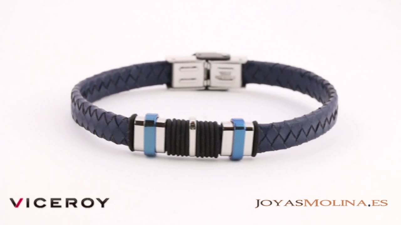 8fcf21cbe983 Pulsera Viceroy Fashion hombre cuero trenzado azul oscuro 6337P09013 ...