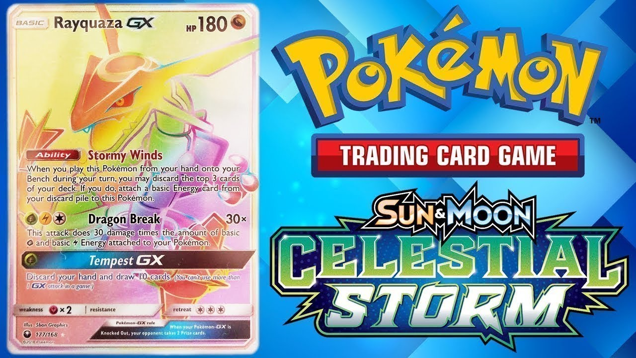 Pokemon Celestial Storm Hyper Rare Rayquaza Gx Hunt Giveaway