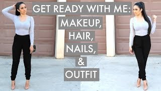 Get Ready With Me: Makeup, Hair, Nails & Outfit