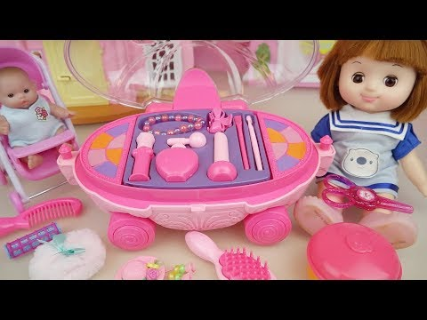 Baby doll Pink beauty hair car toys and baby Doli mart play