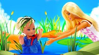 Barbie et Ken vont au pique-nique. La nouvelle voiture pour camping. Vidéo avec les poupées.