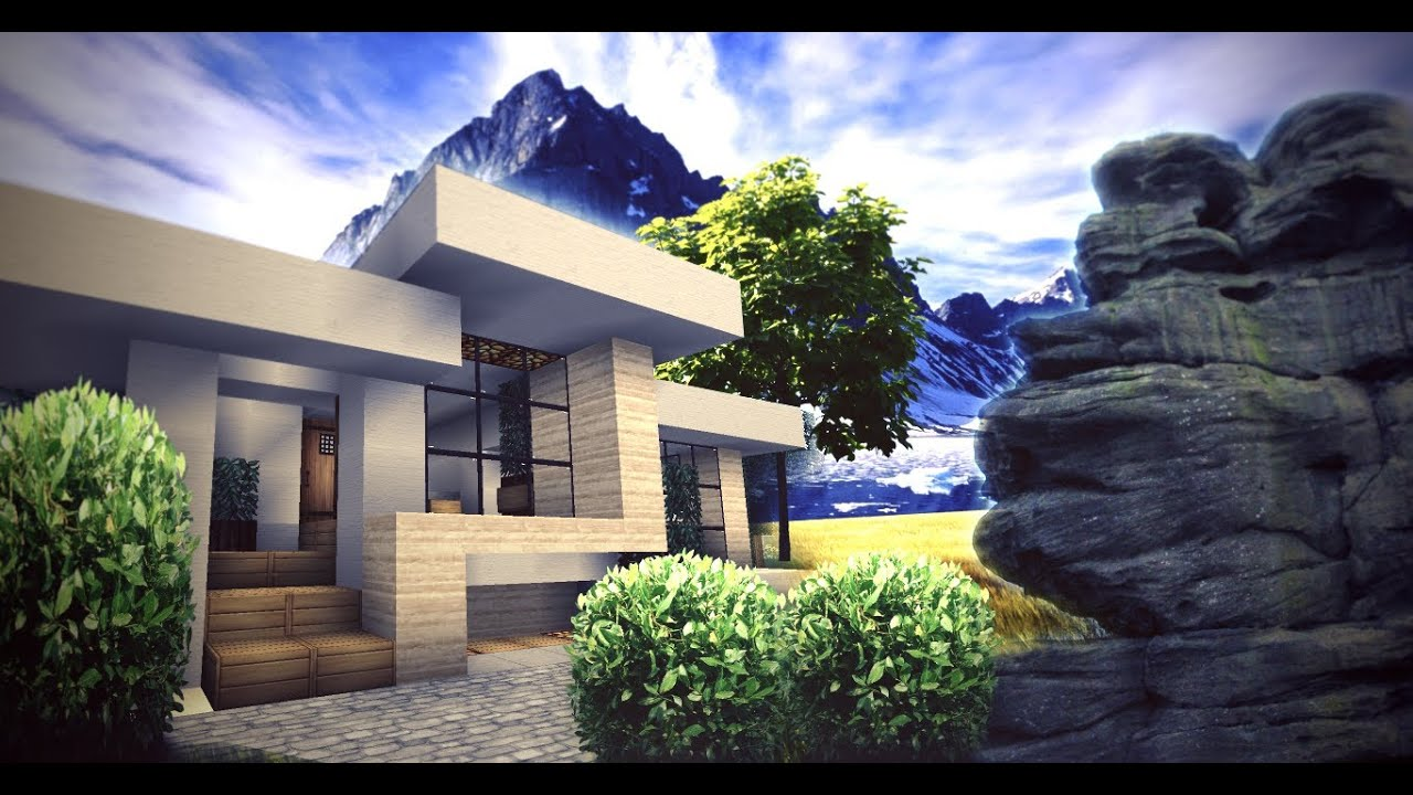 Minecraft small modern house youtube for Small contemporary homes