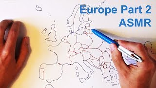 ASMR Drawing Map of Europe (With Cough Drop) Part 2