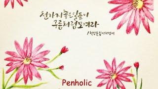 캘리그라피 Faber Castell 수채색연필 꽃 그리…