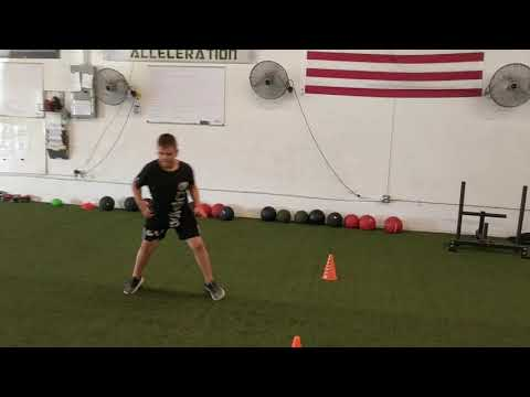 Youth Athletes working on acceleration + lateral shuffle